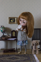 the beginner (JennWrenn) Tags: blythe doll custom primadollyaubrena littlegirl redhead learningviolin lessons teddy teo maxine
