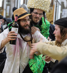 """""""And wine that maketh glad the heart of man, making the face brighter than oil"""" (Psalms, 104, 15) (ybiberman) Tags: jews drunken payot israel jerusalem meahshearim purim feast festival wine drinking men portrait candid streetphotography"""