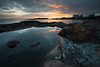 Grytudden - 2017 (- David Olsson -) Tags: värmland sweden grytudden hammarö skoghall skoghallsverken factory industry fabrik seascape landscape outdoor storaenso rocks stones cliffs puddle pool still smoothwater cloudy clouds sunset sundown leefilters 06hard gnd grad nikon d800 1635 1635mm 1635vr vr fx davidolsson 2017 mars march