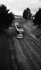 Elikon 35S - Tram Taken from the Bridge (Kojotisko) Tags: street city people bw streets person czech streetphotography brno cc creativecommons czechrepublic streetphoto persons fomapan fomapan200 fomapan200creative elikon35s 35