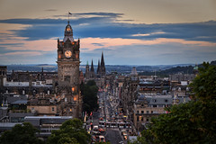 Balmoral & Princes Street Sunset (Colin Myers Photography) Tags: sunset sun castle colin set photography scotland warm edinburgh edinburghcastle fife hill scottish caltonhill balmoral calton myers edinburghsunset scottishsunset warmsunset scotlandsunset edinburghphotography classicedinburgh balmoralclock colinmyersphotography settingsunscotland
