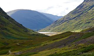 Pass of Glen Coe with Loch Achtriochtan, Highlands, Scotland
