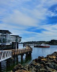 Kingston (Portraitsteve) Tags: water clouds boat dock rocks mt seawall rainier pugetsound kingstonwa