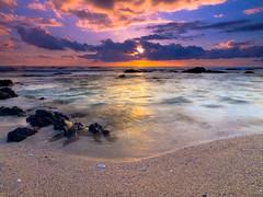Kohanaiki Sunset (FromHereOnIn.com) Tags: travel sunset seascape beach beautiful clouds digital landscape hawaii movement vibrant shoreline scenic slowshutter coastline dreamy bigisland zuiko pinetrees kailuakona fromhereonin kohanaiki christopherjohnson