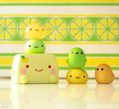 Summer Citrus [Explored!] (Ceci ♥ Cuteness) Tags: summer white cute green bird birds yellow japan fruit vintage paper toy japanese book leaf lemon ceci tofu arcade vinyl machine rubber plastic claw foam cube kawaii figure onsen citrus lime cuteness rare vending kun dumpling manju hiyoko hannari