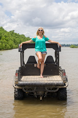 Farm062814_4420 (WindJammer Photo) Tags: ohio beautiful beauty smile june canon river 350d gator farm wife denim shorts 1785mm johndeere 2014