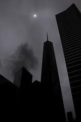 Freedom Tower Silhouette (johnruscombe1965) Tags: nyc newyorkcity urban blackandwhite usa ny monochrome weather architecture manhattan unitedstatesofamerica lowermanhattan downtownmanhattan freedomtower