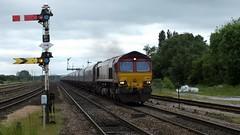 66130 Barnetby 05-06-14 (panmanstan) Tags: train track diesel railway loco locomotive coal signal freight class66 ews permanentway barnetby dbschenker