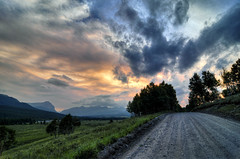The road to Ya Ha Tinda (Len Langevin) Tags: sunset sky rocky mountains rockies alberta canada clouds yahatinda easternslopes nikon d300s tokina 1224 cloudy sundre