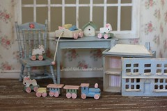 Baby Bunny Express (*Joyful Girl ♥ Gypsy Heart *) Tags: rabbit bunny shop train circus pastel nursery etsy update minis shabby joyfulgirlgypsyheart