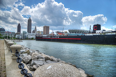 The Mather and skyline... (tbower) Tags: ohio history geotagged nikon raw ship nef lakeerie hdr historicpreservation freighter williamgmather ce6 nikongp1 photomatixpro4 nikkor24120f4vr vlevelandohio