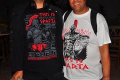 Ash and Amir (RobW_) Tags: july greece amir ash tshirts thursday zakynthos spartan 2014 freddiesbar tsilivi jul2014 10jul2014