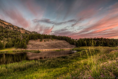 Yellowstone National Park (Gar40y) Tags: park morning pink sky green water grass clouds canon landscape nationalpark national yellowstonenationalpark yellowstone hdr topaz photomatix canonef2470f28l tonemapped grandloop canon5dmarkiii