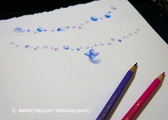 06_2014_07_21_01_s (blue_belta) Tags: flower art rain june japan illustration sketch purple blossom drawing garland hydrangea 花 raindrop coloredpencil colorpencil 色鉛筆 6月 紫陽花 梅雨 雨粒 スケッチ ガーランド