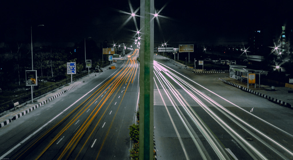 road street light streets night lights highway nightshot traffic delhi toll freeway lighttrails nightstreets