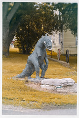 3Q0A5901e (agentsmj) Tags: road trip travel summer vacation sculpture house home statue outdoors missing exposure arm dinosaur lawn august mini godzilla creature 2014
