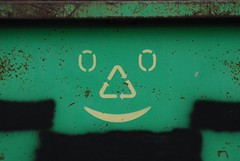 recycle with a smile (i_gallagher) Tags: green smile face metal logo rust paint norwich 2014 stbenedictsstreet idg