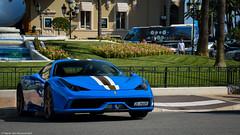 Casino Square (Harm-Jan Rouwendal) Tags: blue square italian nikon stripes ferrari casino monaco carlo monte spoiler speciale 458 harmjan d3200 hypercar rouwendal
