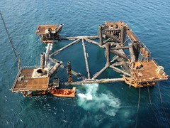 24S jacket cut in half (thulobaba) Tags: norway construction offshore tripod engineering demolition jacket 24s 7000 decommissioning saipem ekofisk