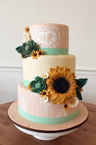 Autumn Sunflower and Succulent Painted Woodgrain Wedding cake