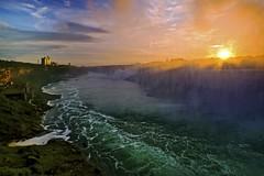 Mist of Niagara Falls (Sneezzzzz) Tags: park travel mist canada nature sunrise river landscape niagarafalls waterfall fujifilm horseshoefalls 5photosaday