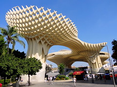 Splendid Metropol Parasol - Seville (Cloudwhisperer67) Tags: world life from street wood city trip travel blue light summer sky urban sun france tree green art love architecture wonderful fun photography soleil town wooden high amazing spain warm europa europe day cityscape view place spirit capital great arts dream sunny seville andalucia palm bleu espana journey parasol alcazar romantic lovely andalusia scape metropol splendid andalousie bleue cloudwhisperer hx9v cloudwhisperer67