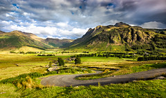 Langdale Fell (richjjones) Tags: road uk greatbritain mountains grass clouds sunrise canon shadows cloudy unitedkingdom farm lakedistrict valley cumbria fields winding lseries langdalevalley