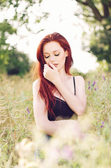 Summer vibes (caras.muffin) Tags: red portrait woman color green nature girl field hair 50mm model pentax bokeh outdoor selftaught