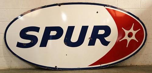 "Porcelain Oval ""Spur"" Gas Advertising Sign ($616.00)"