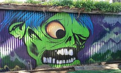 Shock Monster (Bart D. Frescura) Tags: spraypaint aerosol ironlak montana mtncolor shockmonster osh topstone bartdfrescura creepycalifornia monster color famousmonsters captaincompany 1961 shock mask monstermask gridlock