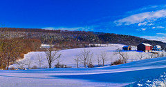 Mountain Snow Scene (ronchap4) Tags: stella winter storm blizzard nature daytime north northeast panorama pan hdr aurorahdr snow snowzilla snowstorm march march16 pennsylvania penn elysburg stormelysburg farm mountains hills trees paphotograph snowing buildings barn redbarn beautiful day thursday nikon d5300 35mm raw stitching snowfall letitsnow incredibleshot morning earthpix sunnyday countrytown cold clouds bluesky white bright