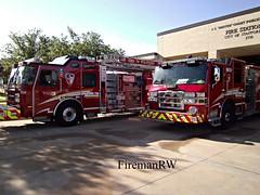 Stafford, TX FD Engine 21, Quint 21 (FiremanRW) Tags: engine firetruck pierce ladder e1 pumper quint eone emergencyone