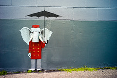 286. Mr. L. E. Fant (prenetic) Tags: seattle red white elephant building wall umbrella painting gold washington weeds paint pavement buttons coat bricks pipe ivory sidewalk tar tusks