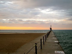 Summer Solstice, Edgewater, Chicago (rwchicago) Tags: sky lighthouse lake chicago clouds evening pier jetty lakemichigan solstice shore edgewater hopperesque