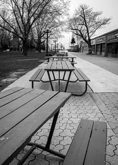 Picnic Tables at Exhibition Grounds. (PureWest) Tags: blackandwhite toronto tables exhibitiongrounds e1855mmf3556oss sonynex5n