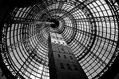 Dome (Aviator195) Tags: roof white black building tower history monochrome up architecture vintage shopping nikon shot centre australia melbourne victoria dome tall height d3100