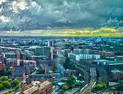 Van Gogh Manchester and Salford Skyline (0-1-6-1) Tags: city uk bridge sunlight skyline clouds painting manchester horizon trains digitalpainting rays salford oldtrafford vangogh canon60d
