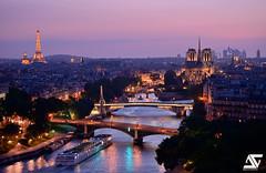 Paris @ Blue Hour (A.G. Photographe) Tags: paris france seine french nikon eiffeltower notredame cathdrale toureiffel ag bluehour nikkor pniche arcdetriomphe barge franais parisian ladfense anto d800 xiii parisien toutparis antoxiii 70200vrii agphotographe