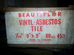 More Asbestos on Shelf  - Beautiflor (Asbestorama) Tags: canada tile floor box inspection vinyl safety mohawk carton vat flooring survey hazard acm lumber asbestos 9x9