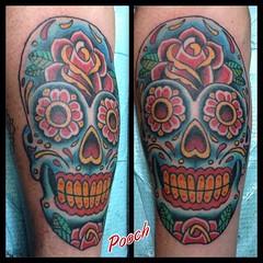 #sugarskull #diadelosmuertos #sugarskulltattoo #skulltattoo #tattoo #eldubink #lakeworthtattoo #alteredstatetattoo #pooch_art @neotatmachines @fusionink_ca