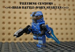 Lego HALO Battle-worn spartan (Keaton FillyDing) Tags: blue brick soldier paint lego halo battle reach custom spartan brickarms brickforge fillyding batteworn