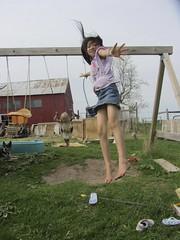 JUMP! (Snapshots by ©Nixy J Morales) Tags: jump jumping farm swingset 2014 kewaunee