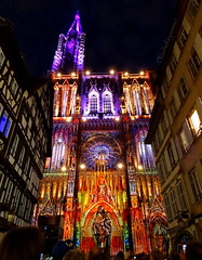 The colorful Cathedral (Cloudwhisperer67) Tags: street new city trip travel blue light shadow summer urban cloud france color art love church colors beautiful yellow architecture night rural wonderful dark fun photography lights town photo amazing nice fantastic scenery colorful cityscape nightscape darkness cathedral bright image vibrant sony magic great illuminations violet indigo illumination vivid scene exhibition bleu strasbourg cathdrale journey alsace stunning colored lovely lightening scape raphael incredible glise 67 2012 bleue raphal 2014 whisperer cloudwhisperer hx9v cloudwhisperer67