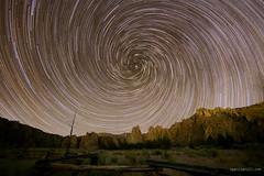 Smith Rock Vortex (Sergio Garcia Rill) Tags: usa mountain vortex rock night oregon spiral star nightscape unitedstates nightsky smithrock startrails 2014 terrebonne smithrockstatepark starrynights starcircleacademy vortexstartrails