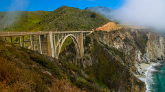 Big Sur (California) - Bixby Creek Bridge 2 (cglphoto) Tags: ocean california park trip bridge sea cliff 3 seascape mountains west nature water cali fog creek canon landscape photography one 1 coast landscapes is big flora highway rocks waves pacific mark iii foggy scenic parks roadtrip cliffs hwy foliage pch coastal poi 5d sur polarizer overlook f4 circular bower lim hwy1 cpl bixby turnout 24105 mkiii mk3 polariser ca1 f4l cgl overlooks 24105mm chhorn chhorno