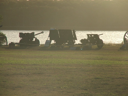 Artillery pieces in the afternoon sun.