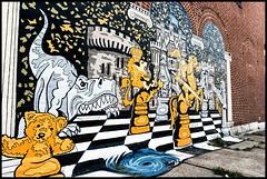 An Ever Roaring Hunger (MisterQueue) Tags: bear streetart building brick art manchester mural paint pattern dinosaur teddy grove thegrove chess queen lizard knights whirlpool teddybear knight checkerboard tyrannosaurus tyrannosaurusrex grovethe