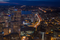 Night Life (NW Vagabond) Tags: seattle blue light tower skyline i5 trails columbia hour skyview 2014