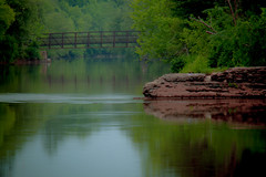 (stevef325) Tags: park morning bridge green mill water rock reflections river georgia smooth rope