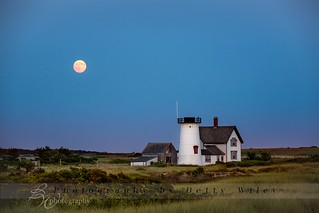 Super moon over Stage Harbor Lighthouse